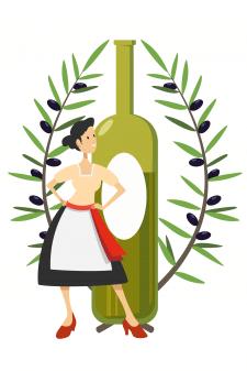 Девушка на фоне бутылки с оливковым маслом