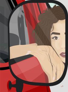 Дівчина в машині. Векторна ілюстрація