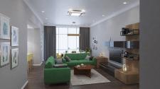 Дизайн-проект интерьера гостиная-кухня