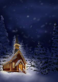 Зимний ночной пейзаж