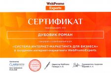 Сертификат Система интернет-маркетинг для Бизнеса