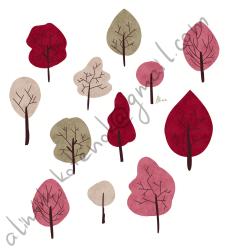Открытка. Красный лес