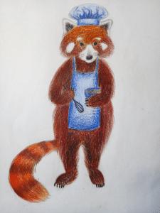 Красная панда-повар