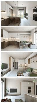 минималистичная кухня-студия