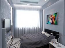 Идея дизайна спальни в холодных тонах.