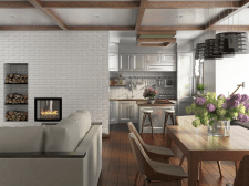 Визуализация гостиной совмещенной с кухней