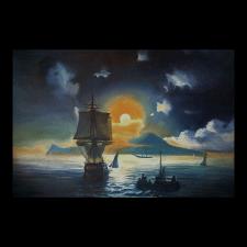"""Копия работы Айвазовского """"Лунная ночь на Капри""""."""