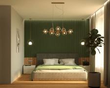 Визуализация спальной с зелеными рейками