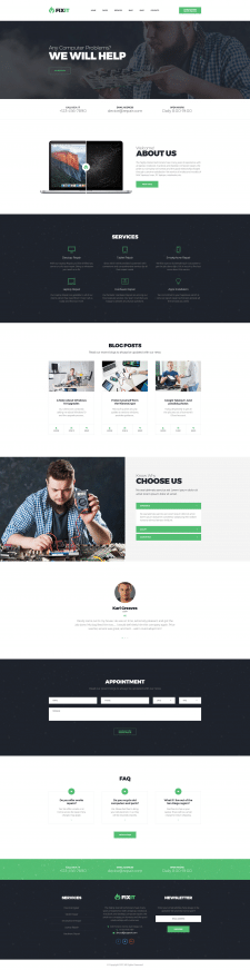 FixIt - Electronics Repair HTML Template with Buil