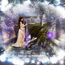 Коллаж девушка и дракон