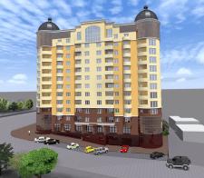 Многоквартирный  многоэтажный дом с магазинами