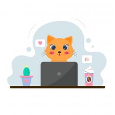 Милый котенок за ноутбуком (векторная иллюстрация)