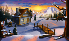Monster Tale - Background winter Sun Set