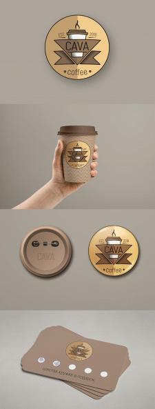Концепт логотипа и элементов айдентики для кофейни