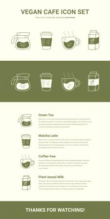 Сет векторных иконок для веганского кафе