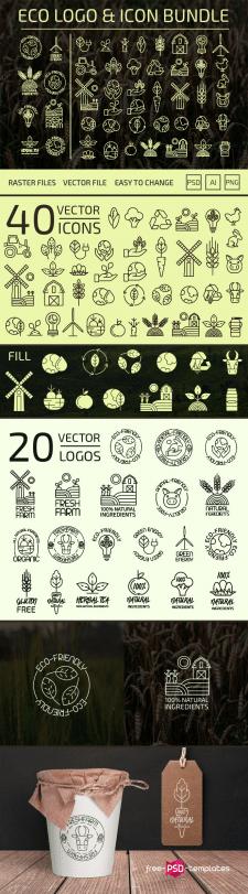 Коллекция фермерских иконок и генератор логотипов