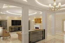 Гостиная в коттедже01