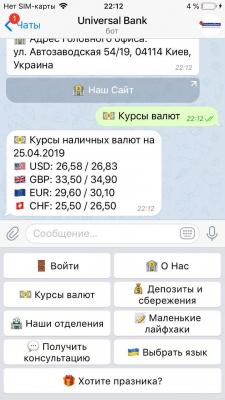 "Разработка чат-бота (Телеграмм) ""Universal Bank"""