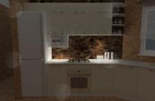 Визуализация кухни-столовой (подсветка кухни)