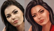 Цифровая живопись по фото. Портрет на холсте