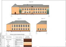 Фасад школы с цветовыми решениями по отделке