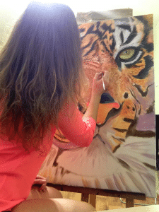"процесс создания картины ""Тигр"""