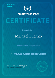 Сертфиикат от TemplateMonster (HTML/CSS)