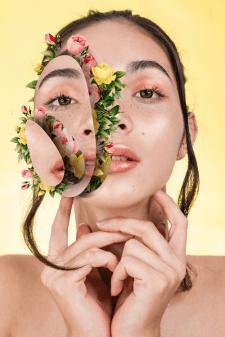 Коллаж лицо с цветами