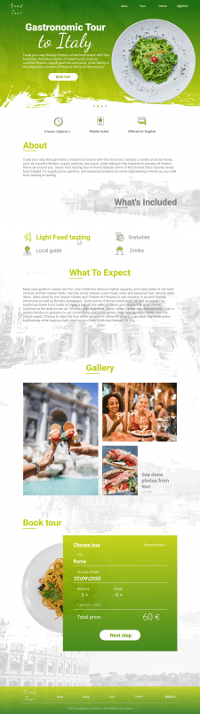 Landing page for Gastronomic Tour