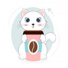 милый котенок с чашкой кофе