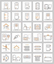 Набор иконок для сайта теплотехники
