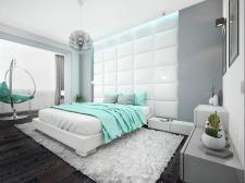 М'ятна спальня для релаксу в стилі хай-тек