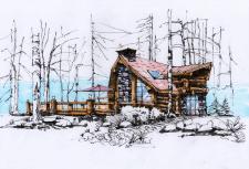 Ручной рендер  дома из бревна