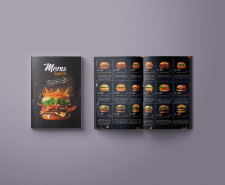 Разработка обложки и разворота для меню бургеров