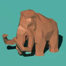 #Low Poly модель мамонта для #бумажного моделирова