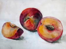 Персики, акварель