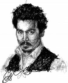 Линейный портрет Джони Деппа
