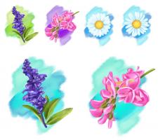 Flower watercolor digital paint