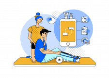 Иллюстрация для сервиса в фирменных цветах