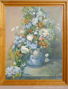 Полевые цветы, масляные краски.
