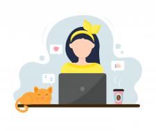 Девушка за ноутбуком (векторная иллюстрация)
