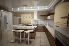 Разработка визуализации интерьера кухни.