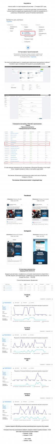 Таргетинг для приложения в FB и Instagram / Англ