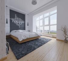 Спальня с гардеробом в стиле минимализм, 24 кв. м