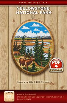 """Схема вышивки крестом """"Yellowstone National Park"""""""