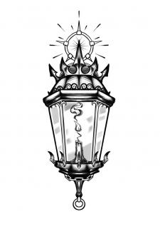Crown Lamp Tattoo эскиз