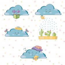 Серия иллюстраций про облачко