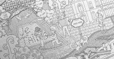Париж. Карта. Фрагмент (Дудлинг зентагл)