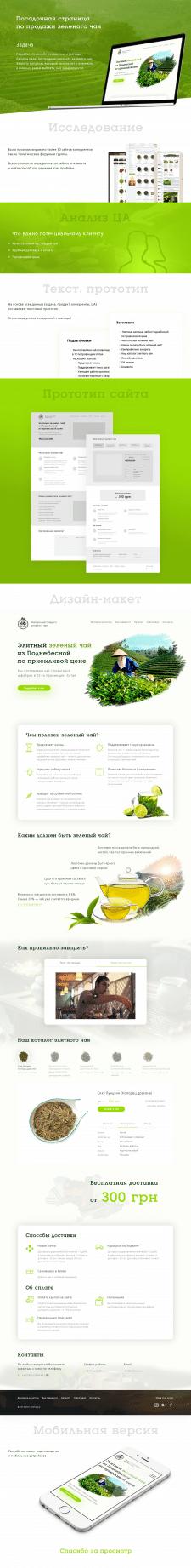 Landing page по продаже зеленого чая