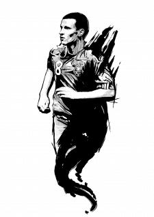 Дизайн эскиза татуировки ( Футболист)